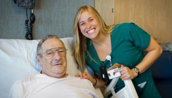 Smiling nurse and patient